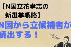 N国,立花孝志,nhkをぶっ壊す,既得権益,選挙戦略
